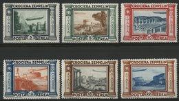 ITALIE POSTE AERIENNE N° 42 à 47 COTE 120 € NEUFS * MH. SERIE COMPLETE DE 6 VALEURS 1933 VOYAGE DE GRAF ZEPPELIN - Poste Aérienne
