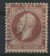 NORVEGE N° 5 COTE 50 € OBLITERE 1856 8 S Carmin Type OSCAR 1er ROI DE SUEDE ET NORVEGE - Norvegia