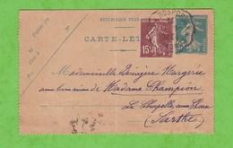 CONVOYEUR CONCARNEAU A ROSPORDEN SUR CARTE LETTRE 140 DATE 451 25c + 15c EN COMPLEMENT POUR LA CHAPELLE AUX CHOUX SARTHE - Postmark Collection (Covers)