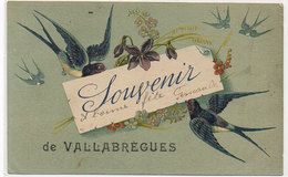 Cpa Gard - Souvenir De Vallabrègues ( Fantaisie Oiseaux & Fleurs ) - Andere Gemeenten