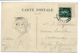 Coin De Carnet 5c SEMEUSE Sur Carte Postale - Bergerac 1912 - Definitives