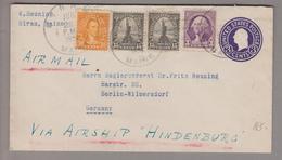 USA 1938-06-22 Hiram 3 Cents Ganzsache Mit Zusatzfrankatur 3,15,15,10 Cents Airmail Nach Berlin - United States