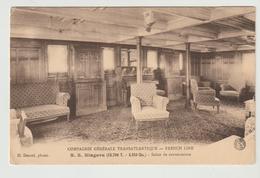 "CPA / Cie. GENERALE TRANSATLANTIQUE "" SS NIAGARA "" / SALON DE CONVERSATION / 1918 - Steamers"