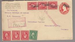 USA 1913-12-30 Chicago 2 Cents R-Ganzsache Nach Schorndorf DE + 6x2 Cents + 1 Cent - United States