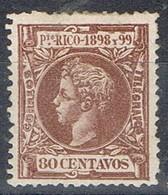 Sello 80 Cts PUERTO RICO, Colonia Española  1898, Edifil Num 147 * - Puerto Rico