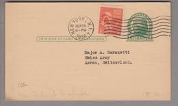 """USA 1938-09-29 New York 1 Cent Ganzsache Mit Privatzudruck Nach Aarau CH """"Stamps Weekly Magazine"""" - United States"""