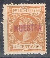 Sello 4 Cts PUERTO RICO, Colonia Española  1898, Sobrecarga MUESTRA, Edifil Num 138M * - Puerto Rico