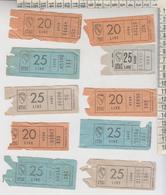 Biglietto Ticket Bus Atac Roma Lotto 10 Biglietti Lire 20 / 25 - Europa