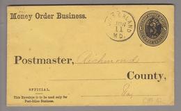 "USA 18??-06-11 ?Umberland "" Money Order Business"" Ganzsache Nach Richmond - 1847-99 General Issues"