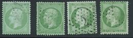 FRANCE - CLASSIQUE. 5 Ct Vert. NAPOLEON III  N°20x4. Oblitéré. Cote 40€. - 1862 Napoleon III