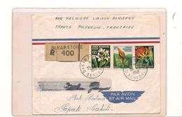 25-9-1958 ENVELOPPE RECOMMANDÉE PREMIÈRE LIAISON AÉRIENNE FRANCE POLYNÉSIE DE DAKAR ( SÉNÉGAL) POUR PAPEETE ( TAHITI) - Senegal (1960-...)