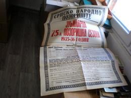 Old Poster Plakat, Srpsko Narodno Pozoriste Novi Sad 1935, 1936, Jubilarna 75. Pozorisna Sezona, Dim. 95x65 Cm - Afiches