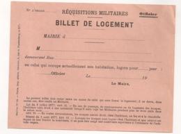 BILLET DE LOGEMENT REQUISITIONS MILITAIRES  OFFICIER  C332 - Dokumente