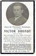 """Victor D'Hondt Geb. Winkel St.Eloi 1875  Overl.de Panne1918 """"gedood Tijdens De Oorlog"""" - Religion & Esotericism"""