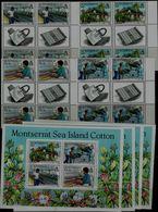 MONTSERRAT 1985 SEA ISLAND COTTON WITH GUTTER BLOCK OF 4+4 BLOCK MI No 586-9+BLOCK 33 MNH VF!! - Montserrat