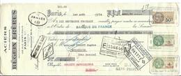 FRANCE FISCAUX 1934:  Mandat De Banque Avec Les Timbres Fiscaux Y&T 15, 30a Et 31a - Revenue Stamps