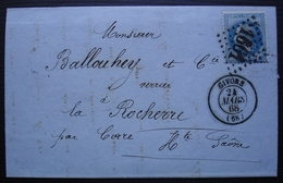 Givors Rhône 1868 Charles Revol Fils Aîné Fabricant De Poterie, Pour La Rocherre, Par Corre - Postmark Collection (Covers)