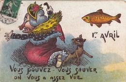"""CARTE FANTAISIE. CPA. """"1er AVRIL"""".ILLUSTRATION. SORCIERE."""" VOUS POUVEZ VOUS SAUVER ON VOUS A ASSEZ VUE"""". ANNEE 1908 - April Fool's Day"""