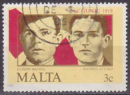 Timbre Oblitéré N° 709(Yvert) Malte 1985 - Soulèvement Du 7 Juin - Malta