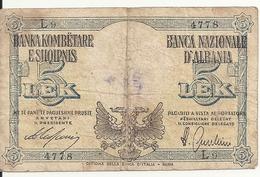 ALBANIE 5 LEK ND1940 VG+ P 10 - Albania