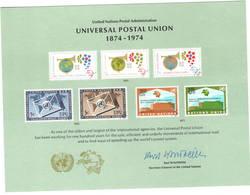 United Nations 1974 UPU U.P.U. Weltpostverein Universal Postal Union Centenary Card - UPU (Union Postale Universelle)
