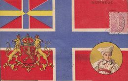France PPC Norvege Flag Coat Of Arms Frontside Stamped DUNKERQUE 1904 ANGERS Maine Et Loire Arr. Cds France Semeuse - Noruega