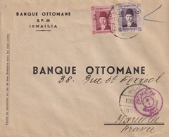 061/31 -- EGYPT PERFINS - Cover Franked ISMALIA 1939 To Marseille - PERFIN Stamps O.B. Banque Ottomane- Purple Censor M1 - Storia Postale
