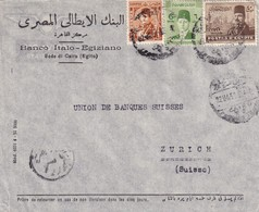 063/31 -- EGYPT PERFINS - Cover Franked CAIRO 1951 To ZURICH - PERFIN Stamps B.I.E. Banco Italo-Egiziano - Egitto