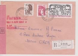 TAD 14 Caen Gambetta AN 1 15/04/1982 Calvados (annexe) Sur LRAR - Postmark Collection (Covers)