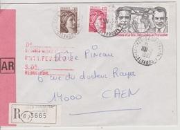 TAD 14 Caen Gambetta AN 1 10/02/1982 Calvados (annexe) Sur LRAR - Postmark Collection (Covers)