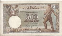 SERBIE 500 DINARA 1942 VF P 31 - Serbia