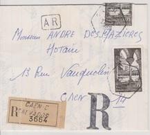 Recette Auxiliaire Urbaine Caen C -C 22/02/1966 Sur LRAR - Postmark Collection (Covers)