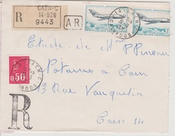 Recette Auxiliaire Urbaine 14 Caen C  Calvados 31/03/1971 Sur LRAR - Postmark Collection (Covers)