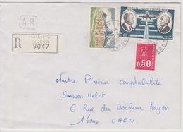 Recette Auxiliaire Urbaine 14 Caen C  Calvados 24/03/1977 Sur LRAR - Postmark Collection (Covers)