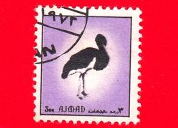AJMAN - Usato - 1972 - Uccelli - Birds - Black Stork (Ciconia Nigra) - Formato Piccolo - 3 - Ajman