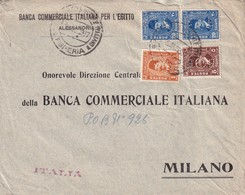 064/31 -- EGYPT PERFINS - MARITIME Cover Cancelled ESPERIA (Lloyd) - PERFIN Stamps B. C.I.E. Banco Commerciale Italiano - Storia Postale