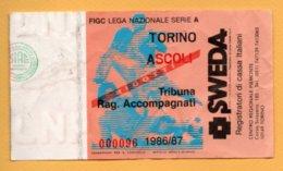Biglietto Ingresso Stadio Torino-Ascoli - 1986-87 - Biglietti D'ingresso