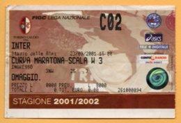 Biglietto Ingresso Stadio Torino-Inter - 2001-2002 - Tickets - Entradas