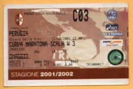 Biglietto Ingresso Stadio Torino-Perugia - 2001-2002 - Biglietti D'ingresso