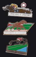 65297-Lot De 3 Pin's.Courses Hippiques.équitation.Cheval.Jeux.PMU - Games