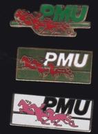 65298-Lot De 3 Pin's.Courses Hippiques.équitation.Cheval.Jeux.PMU - Games