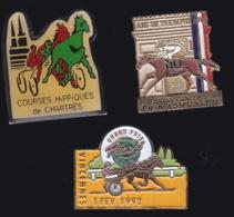 65296-Lot De 3 Pin's.Courses Hippiques.équitation.Cheval.Jeux.PMU - Games