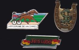 65304-Lot De 3 Pin's.Courses Hippiques.équitation.Cheval.Jeux.PMU - Games