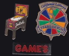 65305-Lot De 3 Pin's.Jeux.Casino.Loterie. - Games