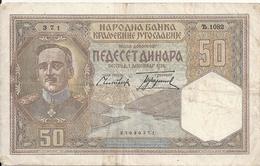 YOUGOSLAVIE 50 DINARA 1931 VF P 28 - Joegoslavië
