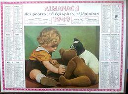CALENDRIER 1949 DE LA POSTE  CONFIDENCES OURS   TRES BEL ETAT - Calendars