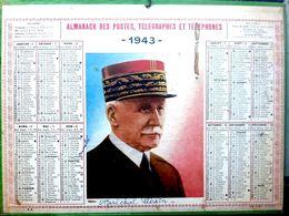 CALENDRIER 1943 DE LA POSTE  MARECHAL PETAIN  COMPLET DES FEUILLETS BEL ETAT - Calendars