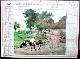 CALENDRIER 1942 DE LA POSTE  SORTIE DE FERME  COMPLET DES FEUILLETS BEL ETAT - Calendars