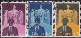 GHANA 1959 SG 204-06a Compl.set+m/s Used 150th Birth Anniv Of Abraham Lincoln - Ghana (1957-...)