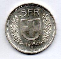 SWITZERLAND, 5 Francs, Silver, Year 1969, KM #40 - Schweiz